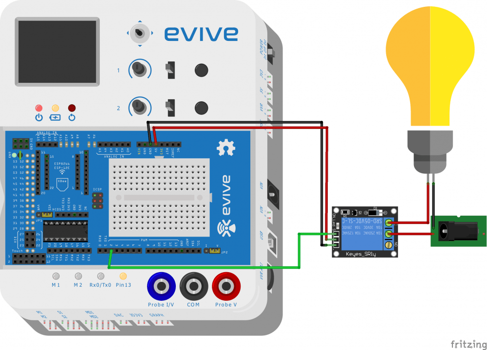 evive 5V Relay circuit Fritzing Diagram