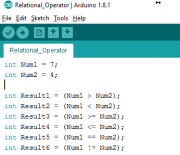 Arduino IDE: Comparison or Relational Operator