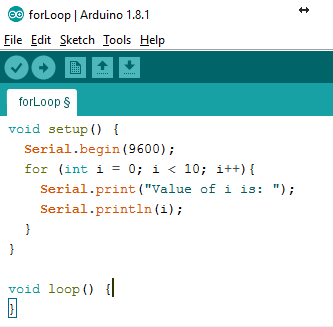 Arduino IDE for Loop