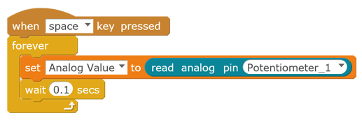 Displaying the analog value of potentiometer 1