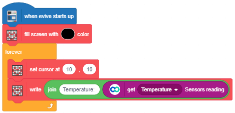 temperature data display on screen